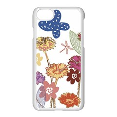 Flowers Butterflies Dragonflies Apple Iphone 7 Seamless Case (white)