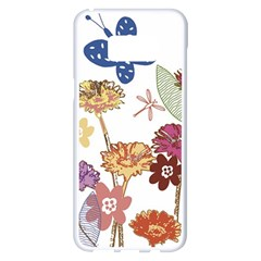 Flowers Butterflies Dragonflies Samsung Galaxy S8 Plus White Seamless Case by Celenk