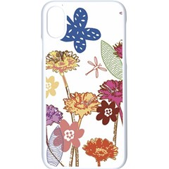 Flowers Butterflies Dragonflies Apple Iphone X Seamless Case (white)
