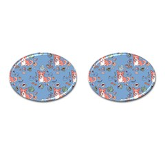 Dog Corgi Pattern Cufflinks (oval) by Celenk