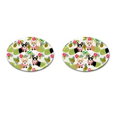 Hula Corgis Fabric Cufflinks (oval) by Celenk