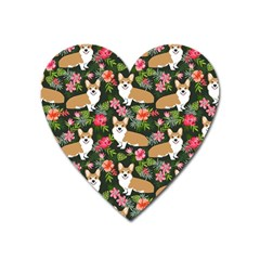 Welsh Corgi Hawaiian Pattern Florals Tropical Summer Dog Heart Magnet by Celenk