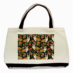 Welsh Corgi Hawaiian Pattern Florals Tropical Summer Dog Basic Tote Bag (two Sides) by Celenk