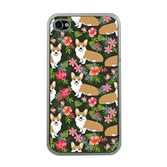 Welsh Corgi Hawaiian Pattern Florals Tropical Summer Dog Apple Iphone 4 Case (clear) by Celenk