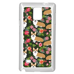 Welsh Corgi Hawaiian Pattern Florals Tropical Summer Dog Samsung Galaxy Note 4 Case (white) by Celenk