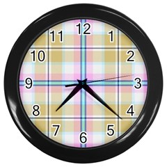 Pink And Yellow Plaid Wall Clocks (black) by allthingseveryone