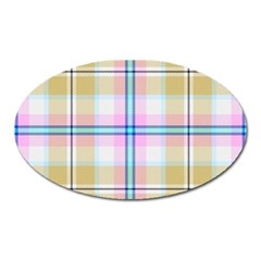 Pink And Yellow Plaid Oval Magnet by allthingseveryone