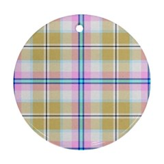 Pink And Yellow Plaid Round Ornament (two Sides) by allthingseveryone