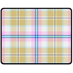 Pink And Yellow Plaid Fleece Blanket (medium)  by allthingseveryone