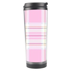Pink Pastel Plaid Travel Tumbler by allthingseveryone