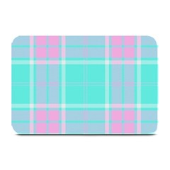 Blue And Pink Pastel Plaid Plate Mats by allthingseveryone