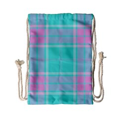 Blue And Pink Pastel Plaid Drawstring Bag (small) by allthingseveryone
