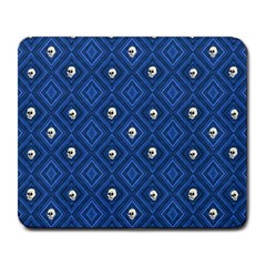Funny Little Skull Pattern, Blue Large Mousepads by MoreColorsinLife