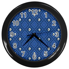 Funny Little Skull Pattern, Blue Wall Clocks (black) by MoreColorsinLife