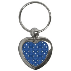 Funny Little Skull Pattern, Blue Key Chains (heart)  by MoreColorsinLife