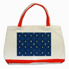 Funny Little Skull Pattern, Blue Classic Tote Bag (red) by MoreColorsinLife