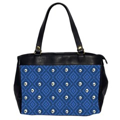 Funny Little Skull Pattern, Blue Office Handbags (2 Sides)  by MoreColorsinLife