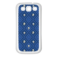 Funny Little Skull Pattern, Blue Samsung Galaxy S3 Back Case (white) by MoreColorsinLife