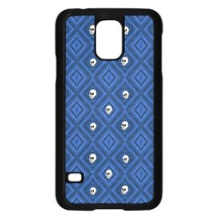 Funny Little Skull Pattern, Blue Samsung Galaxy S5 Case (black) by MoreColorsinLife