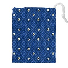 Funny Little Skull Pattern, Blue Drawstring Pouches (xxl) by MoreColorsinLife