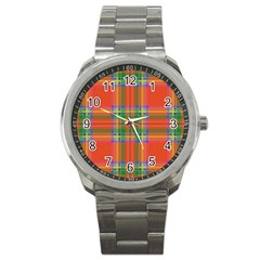 Orange And Green Plaid Sport Metal Watch by allthingseveryone