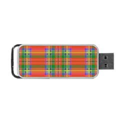 Orange And Green Plaid Portable Usb Flash (two Sides) by allthingseveryone