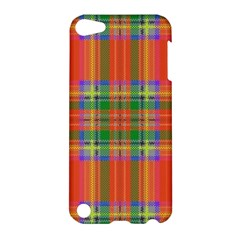Orange And Green Plaid Apple Ipod Touch 5 Hardshell Case by allthingseveryone
