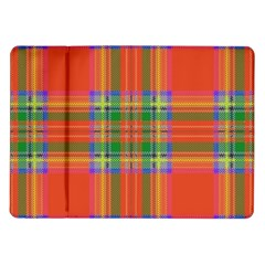 Orange And Green Plaid Samsung Galaxy Tab 10 1  P7500 Flip Case by allthingseveryone
