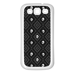 Funny Little Skull Pattern, B&w Samsung Galaxy S3 Back Case (white) by MoreColorsinLife