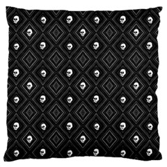 Funny Little Skull Pattern, B&w Large Flano Cushion Case (one Side) by MoreColorsinLife