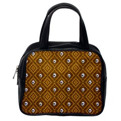 Funny Little Skull Pattern, Golden Classic Handbags (one Side) by MoreColorsinLife