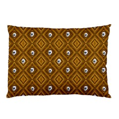 Funny Little Skull Pattern, Golden Pillow Case (two Sides) by MoreColorsinLife