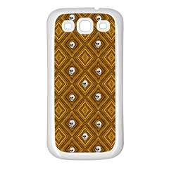 Funny Little Skull Pattern, Golden Samsung Galaxy S3 Back Case (white) by MoreColorsinLife