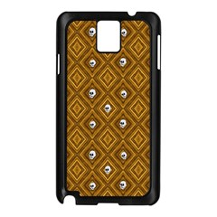 Funny Little Skull Pattern, Golden Samsung Galaxy Note 3 N9005 Case (black) by MoreColorsinLife