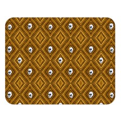 Funny Little Skull Pattern, Golden Double Sided Flano Blanket (large)  by MoreColorsinLife