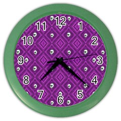 Funny Little Skull Pattern, Purple Color Wall Clocks by MoreColorsinLife