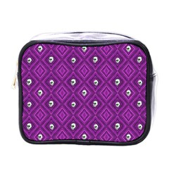 Funny Little Skull Pattern, Purple Mini Toiletries Bags by MoreColorsinLife