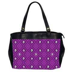 Funny Little Skull Pattern, Purple Office Handbags (2 Sides)  by MoreColorsinLife