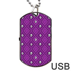 Funny Little Skull Pattern, Purple Dog Tag Usb Flash (two Sides) by MoreColorsinLife