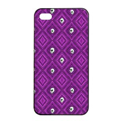 Funny Little Skull Pattern, Purple Apple Iphone 4/4s Seamless Case (black) by MoreColorsinLife
