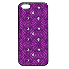 Funny Little Skull Pattern, Purple Apple Iphone 5 Seamless Case (black) by MoreColorsinLife