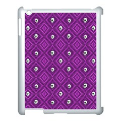 Funny Little Skull Pattern, Purple Apple Ipad 3/4 Case (white) by MoreColorsinLife