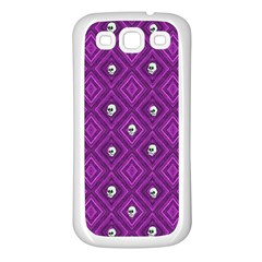Funny Little Skull Pattern, Purple Samsung Galaxy S3 Back Case (white) by MoreColorsinLife