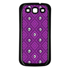 Funny Little Skull Pattern, Purple Samsung Galaxy S3 Back Case (black) by MoreColorsinLife