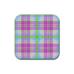 Pink And Blue Plaid Rubber Square Coaster (4 Pack)  by allthingseveryone