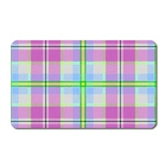 Pink And Blue Plaid Magnet (rectangular) by allthingseveryone