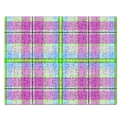 Pink And Blue Plaid Rectangular Jigsaw Puzzl by allthingseveryone