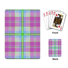 Pink And Blue Plaid Playing Card by allthingseveryone