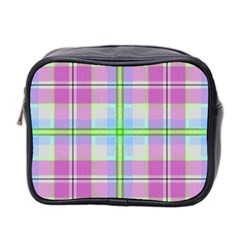 Pink And Blue Plaid Mini Toiletries Bag 2 Side by allthingseveryone