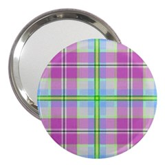 Pink And Blue Plaid 3  Handbag Mirrors by allthingseveryone